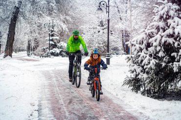 Radfahren mit Kindern im Winter